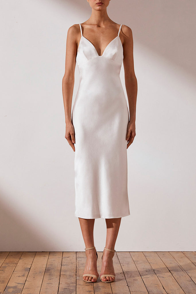 DOUGLAS BIAS SLIP MIDI DRESS - IVORY