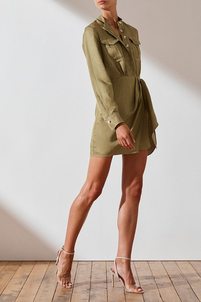ELLINGTON LINEN SHIRT MINI DRESS - OLIVE