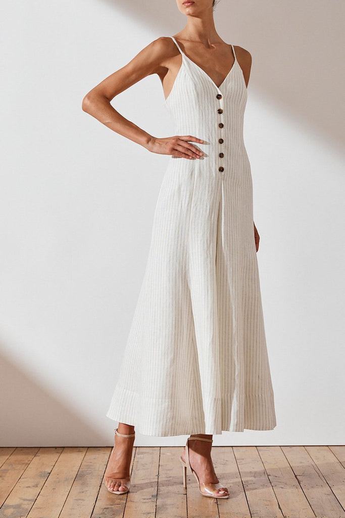 ST KITTS LINEN FLARED JUMPSUIT