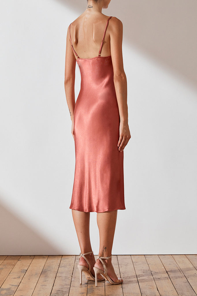 GISELE BIAS COWL MIDI DRESS - TERRACOTTA