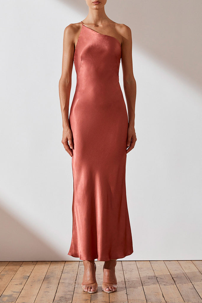 GISELE ONE SHOULDER BIAS DRESS - TERRACOTTA