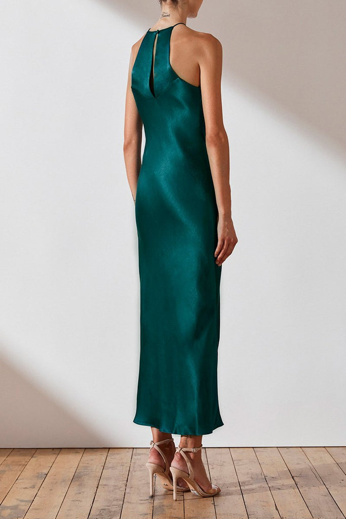 GISELE HALTER BIAS MIDI DRESS - JADE