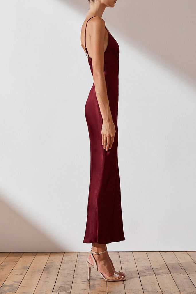 GISELE BIAS SLIP MIDI DRESS - WINE