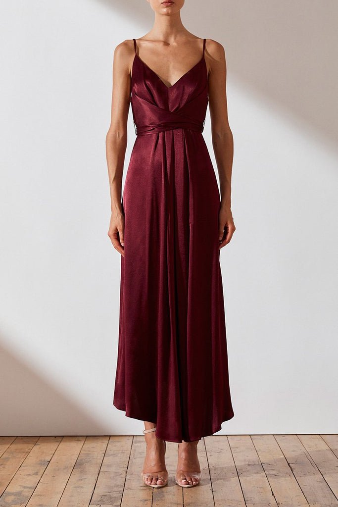 689803e555 ... GISELE DRAPED MIDI DRESS - WINE