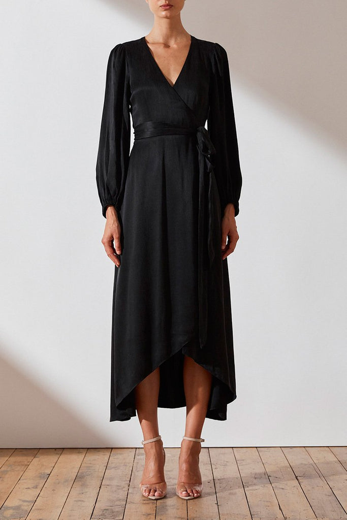 ELTON WRAP MIDI DRESS - BLACK