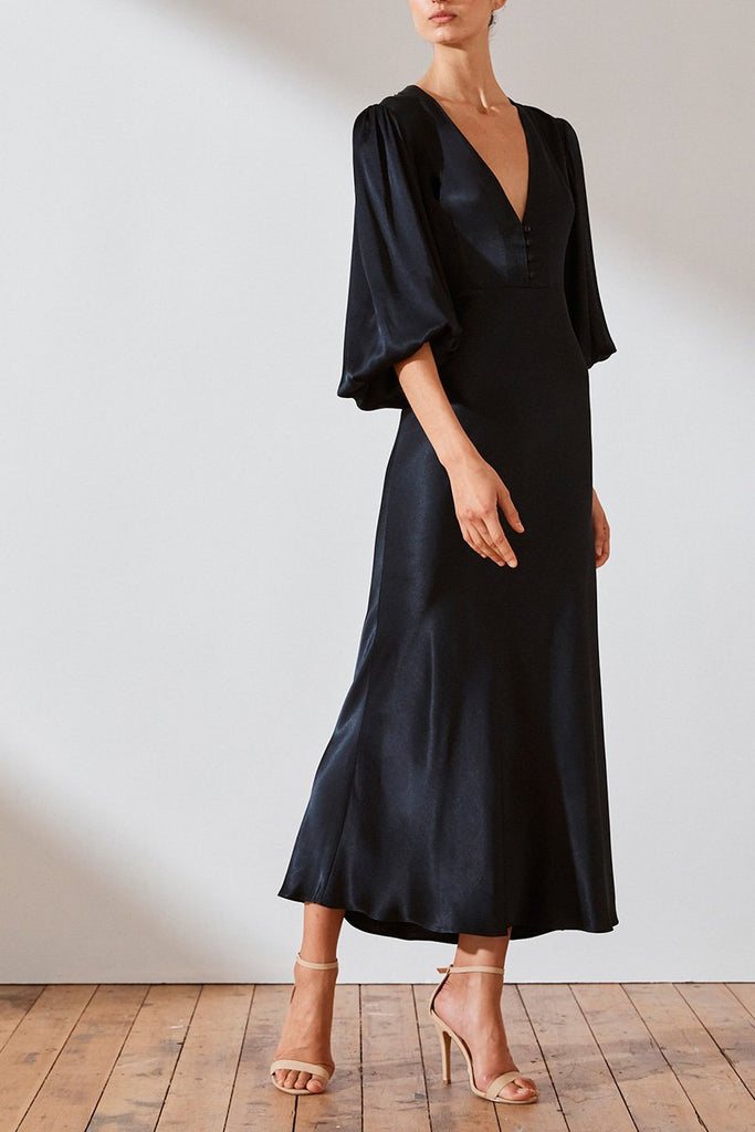 MORRISON L/S BIAS MIDI DRESS - NAVY