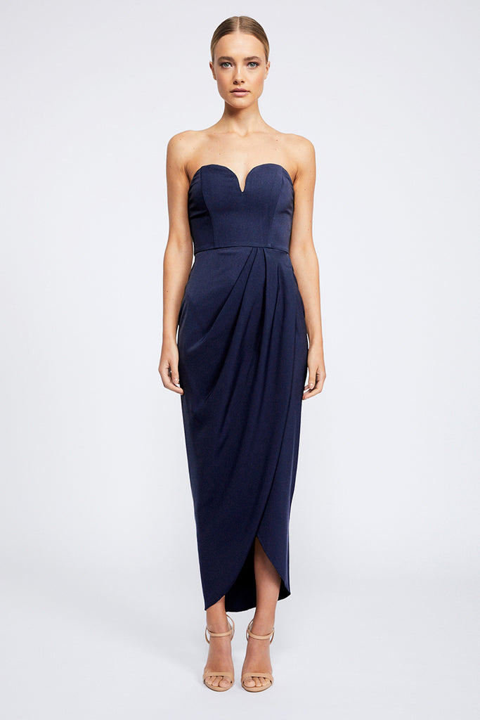 CORE 'U' BUSTIER DRAPED DRESS - BRIGHT NAVY