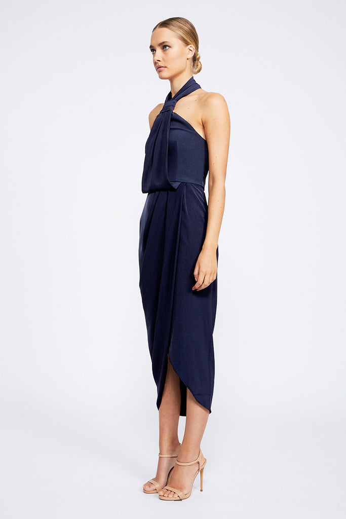 CORE KNOT DRAPED DRESS - BRIGHT NAVY