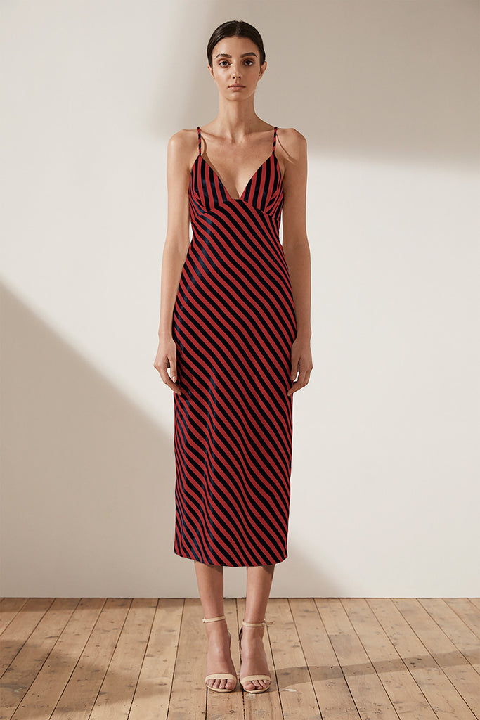 DUKE BIAS SLIP MIDI DRESS - NAVY & RED STRIPE