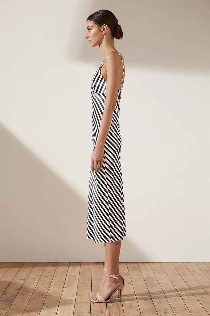 DUKE BIAS SLIP MIDI DRESS - NAVY & WHITE STRIPE