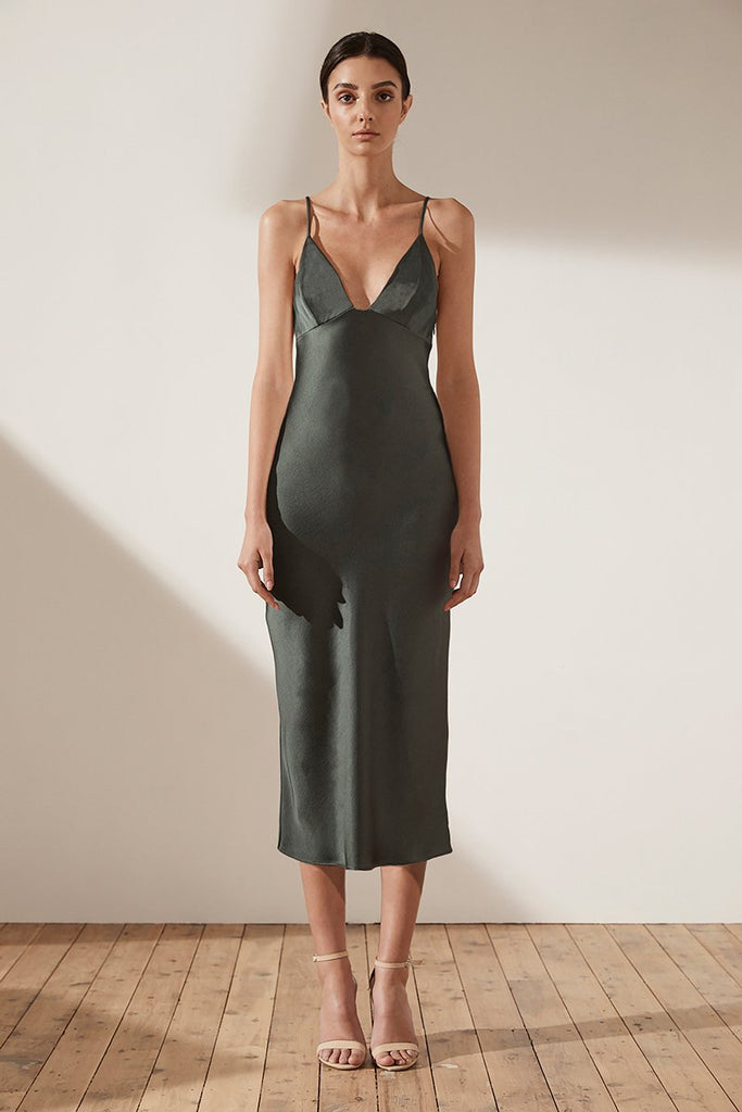 ADONIS BIAS SLIP MIDI DRESS - KHAKI