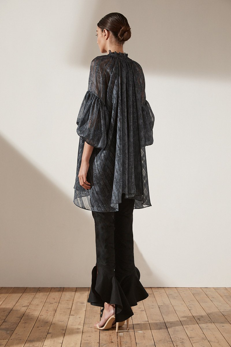 MAREA OVERSIZED BLOUSE - CHARCOAL