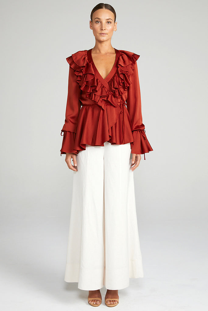 ANNA FRILL WRAP BLOUSE - BURNT RED