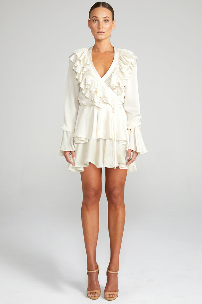 ANNA TIERED MINI DRESS - BONE