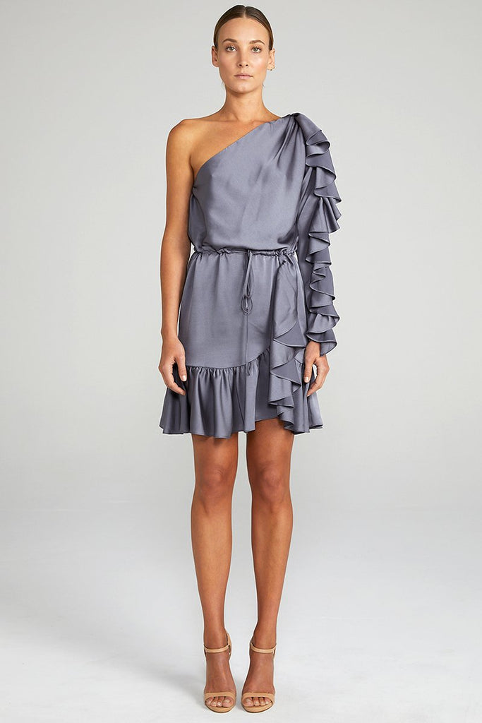 ANNA ONE SHOULDER DRAWSTRING MINI DRESS - CHARCOAL
