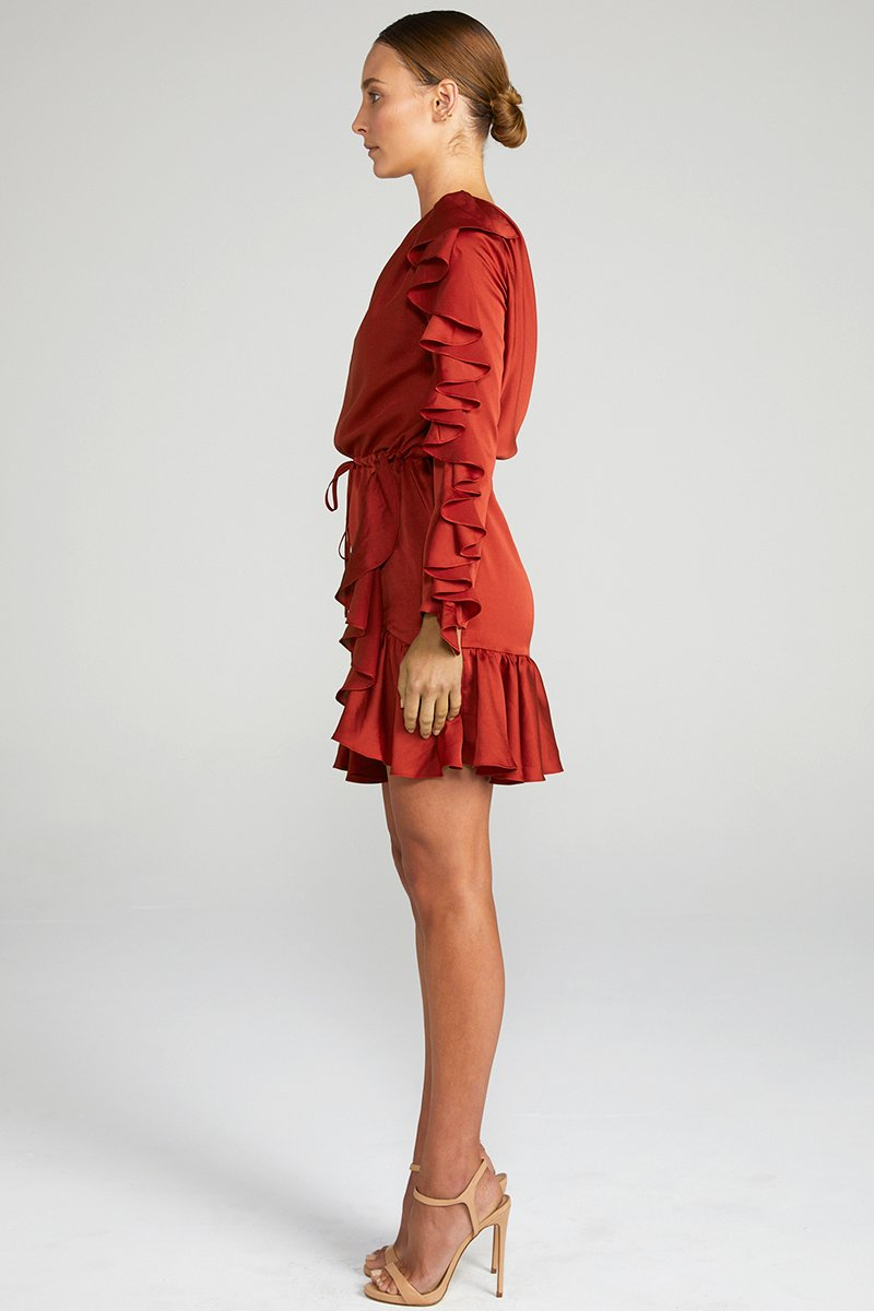 ANNA ONE SHOULDER DRAWSTRING MINI DRESS - BURNT RED