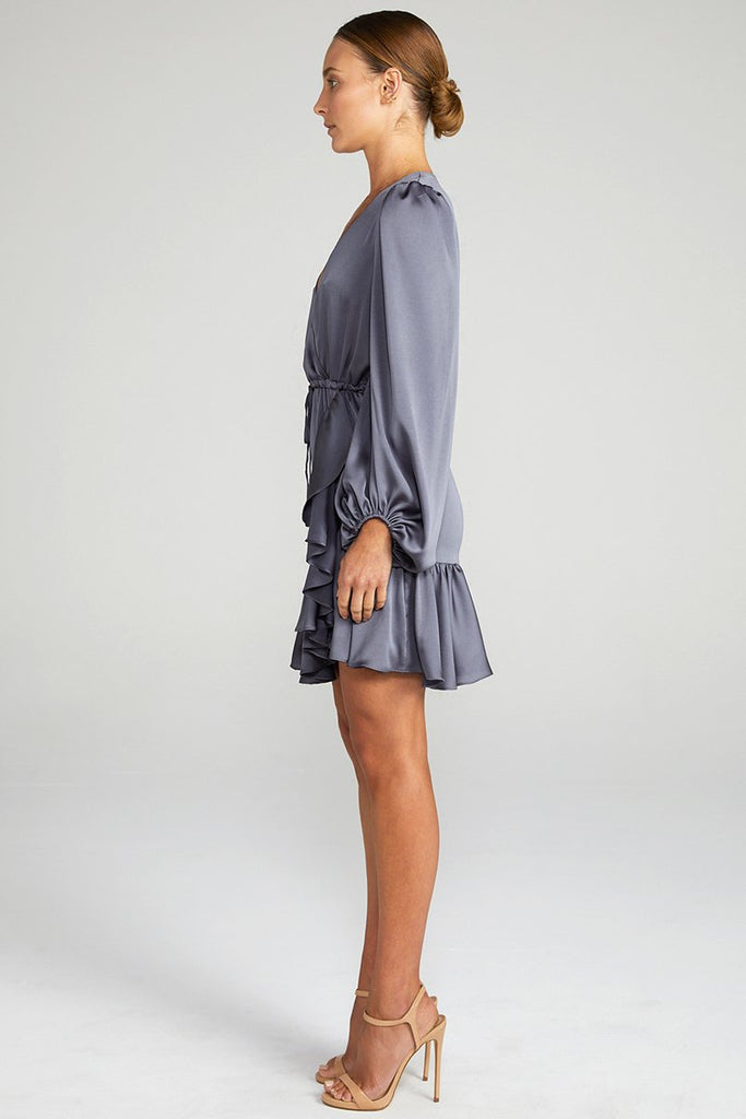 ANNA PUFF SLEEVE DRAWSTRING MINI DRESS - CHARCOAL
