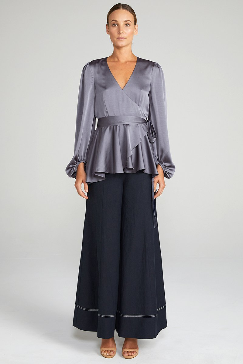 ANNA PUFF SLEEVE WRAP BLOUSE - CHARCOAL