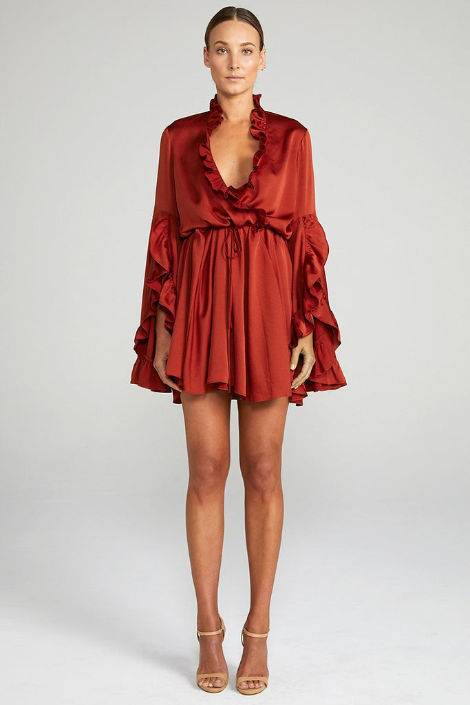 ANNA TULIP SLEEVE DRAWSTRING MINI DRESS - BURNT RED