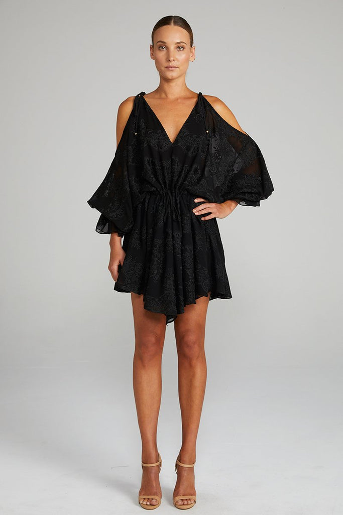 ANTIGUA OPEN SHOULDER MINI DRESS - BLACK
