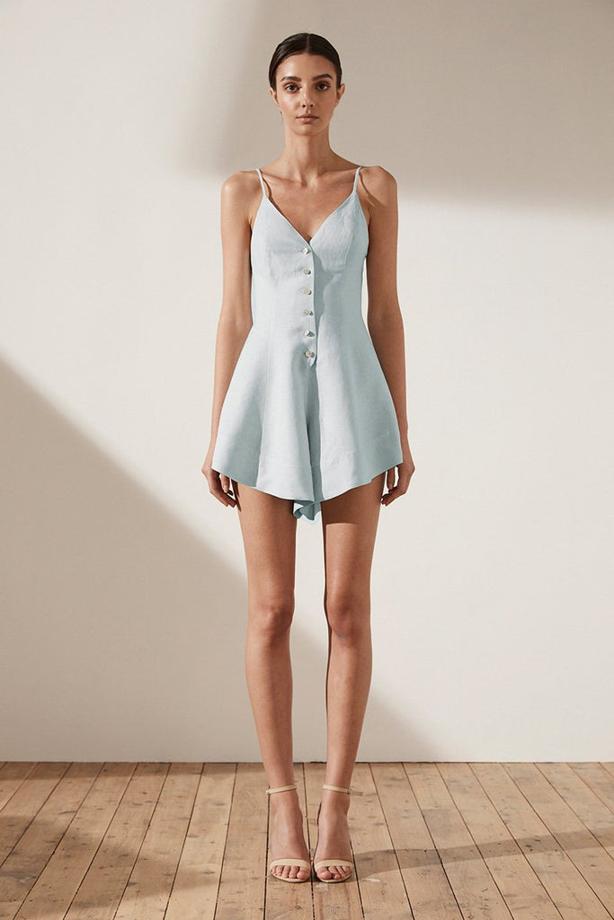 ARIA BUTTON UP PLAYSUIT - SKY