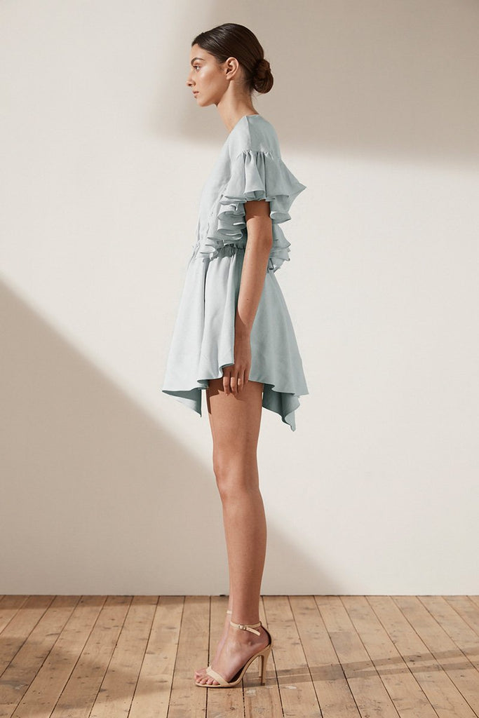ARIA RUFFLE DRAWSTRING MINI DRESS - SKY