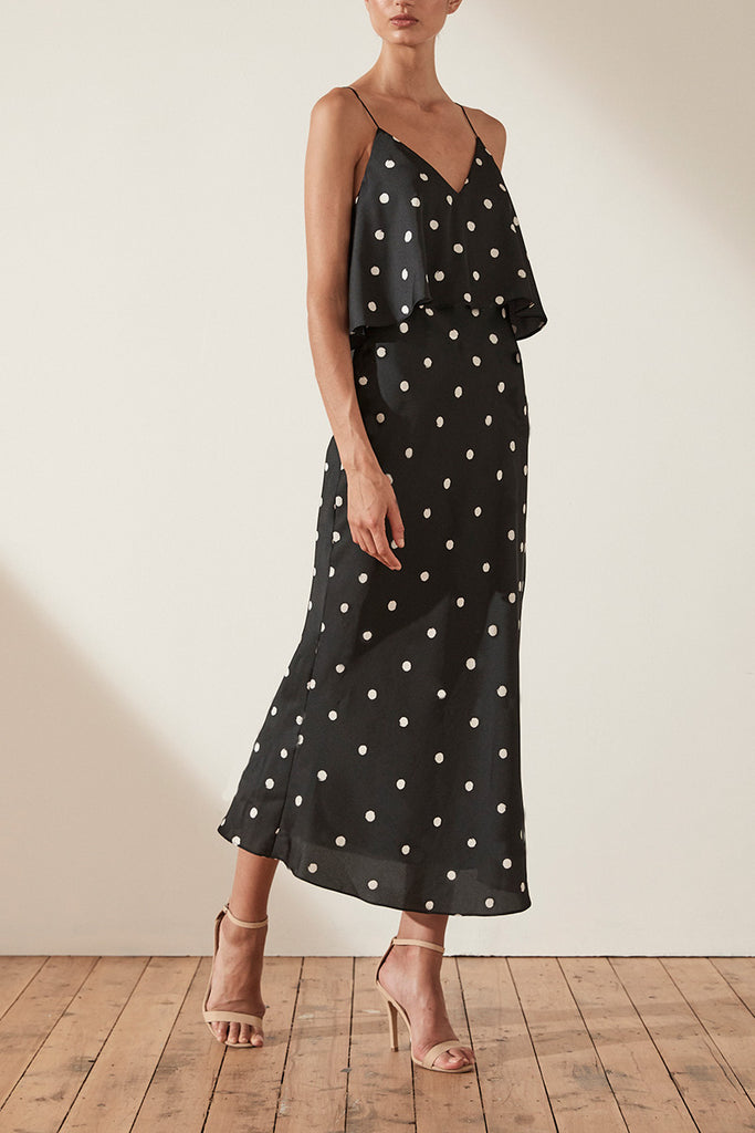 AVERY FRILL BIAS SLIP MIDI DRESS