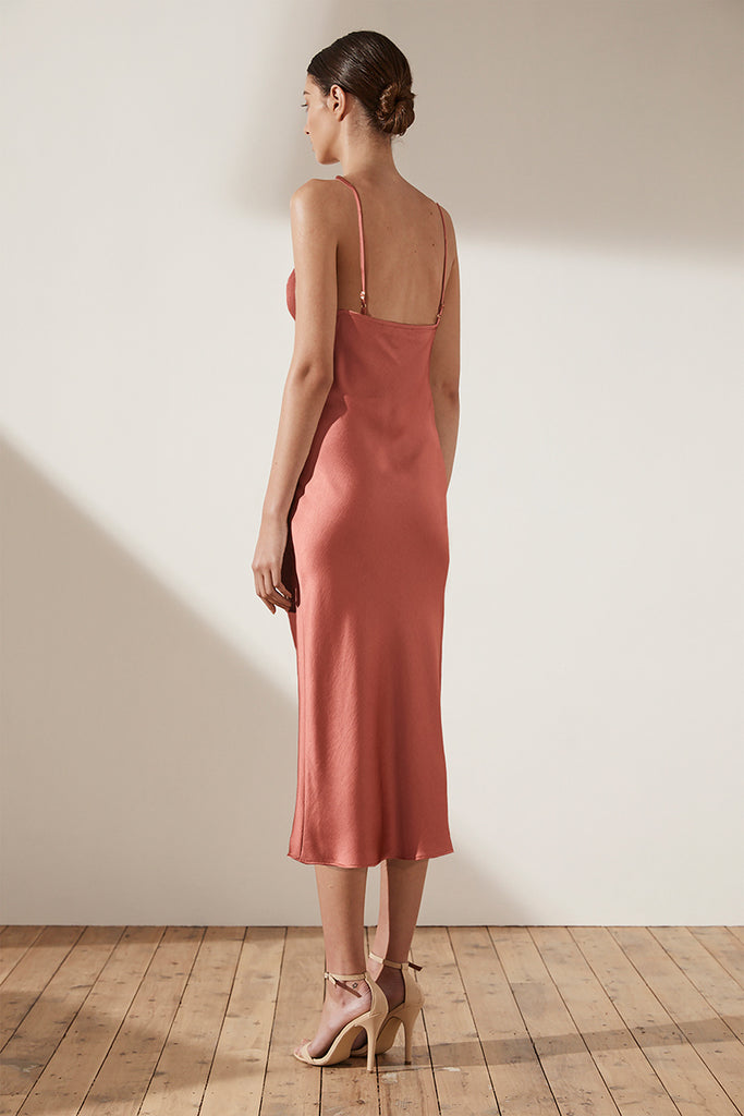 ADONIS BIAS SLIP MIDI DRESS - TERRACOTTA