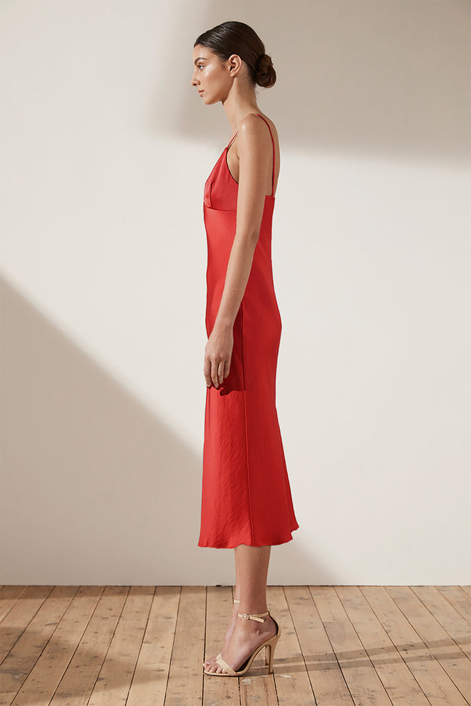 ADONIS BIAS SLIP MIDI DRESS - RUBY