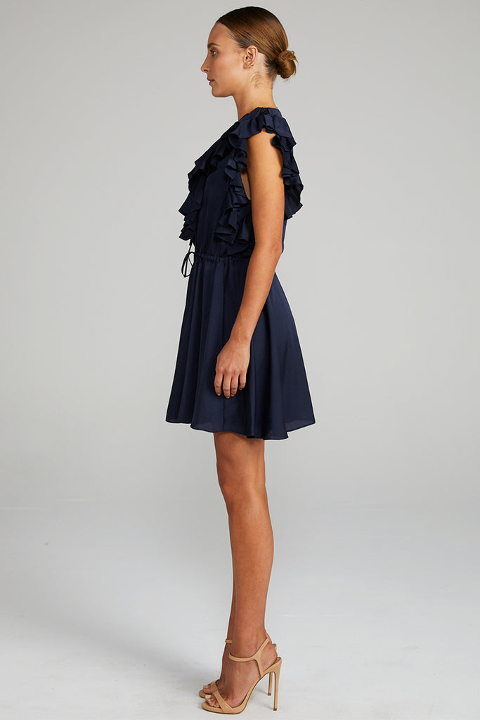 CALYPSO RUFFLE MINI DRESS - NAVY