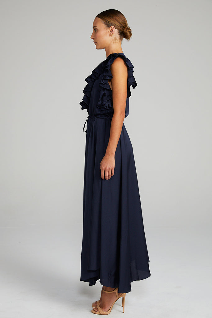 CALYPSO RUFFLE MIDI DRESS - NAVY
