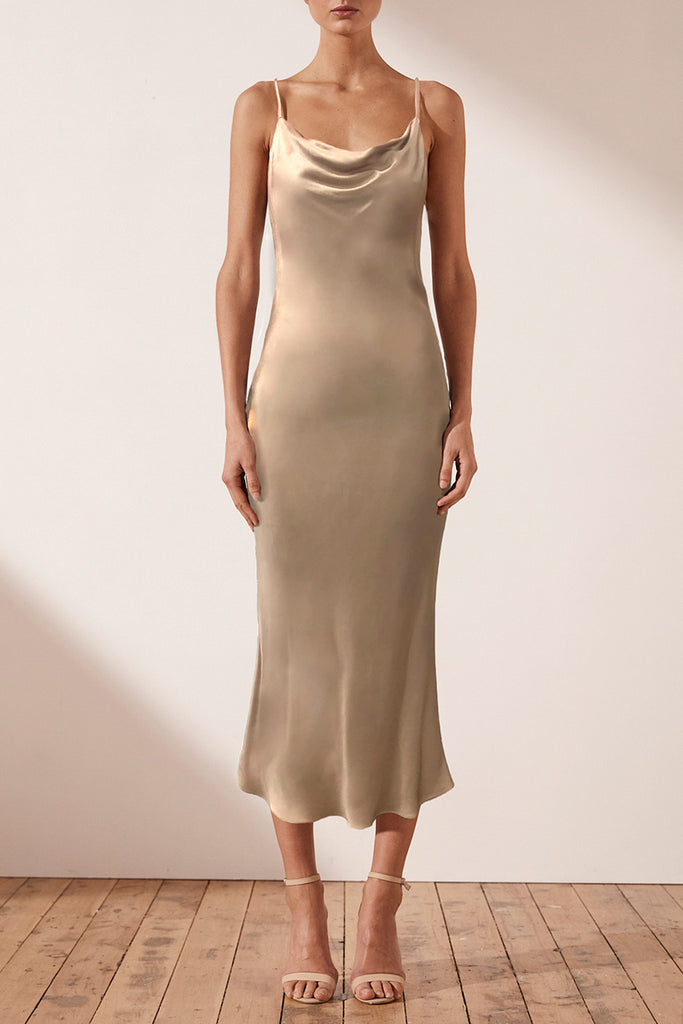 MIA BIAS COWL MIDI DRESS - GOLD