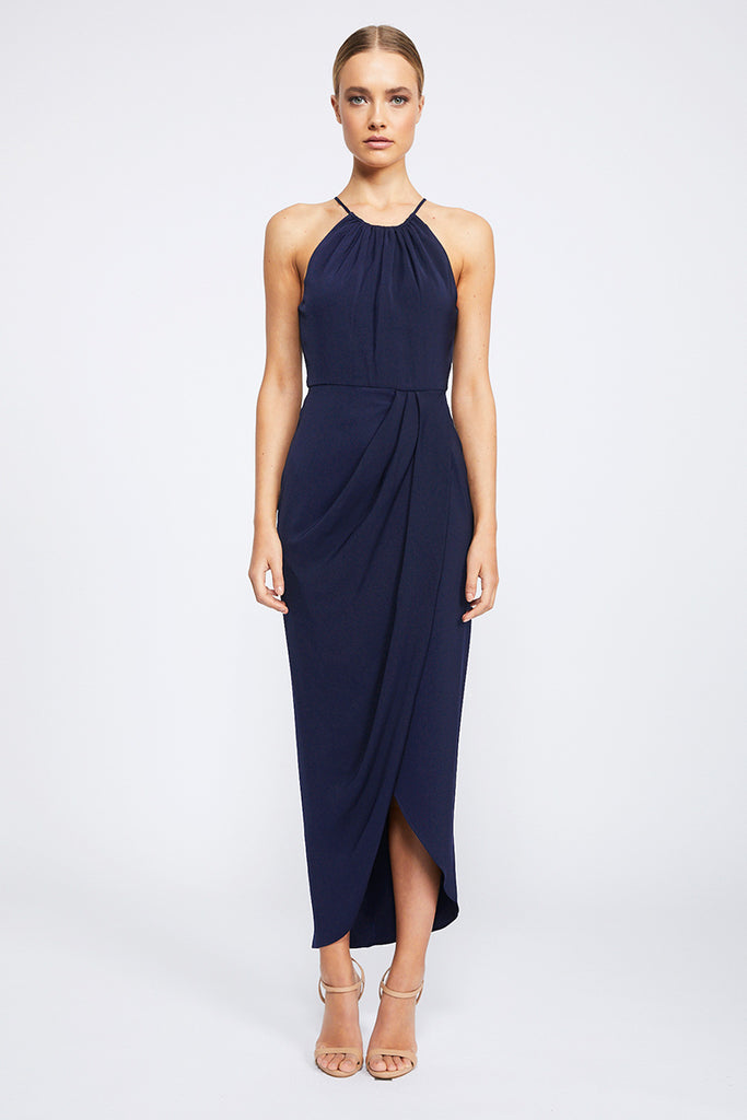 CORE HIGH NECK RUCHED DRESS - BRIGHT NAVY