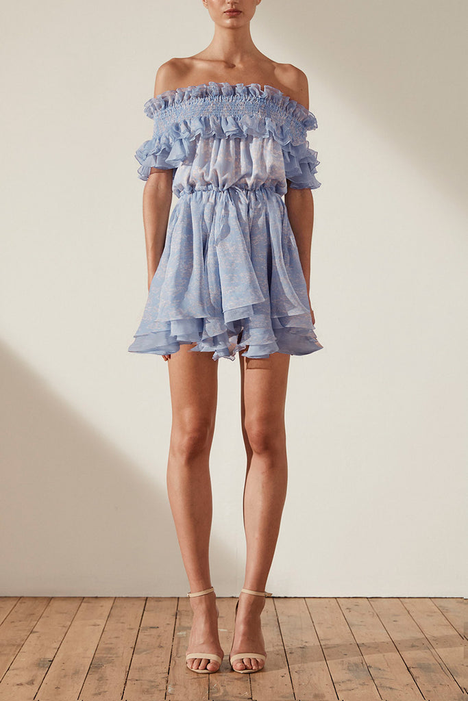 EMILIA OTS SHIRRED LAYERED DRAWSTRING MINI DRESS