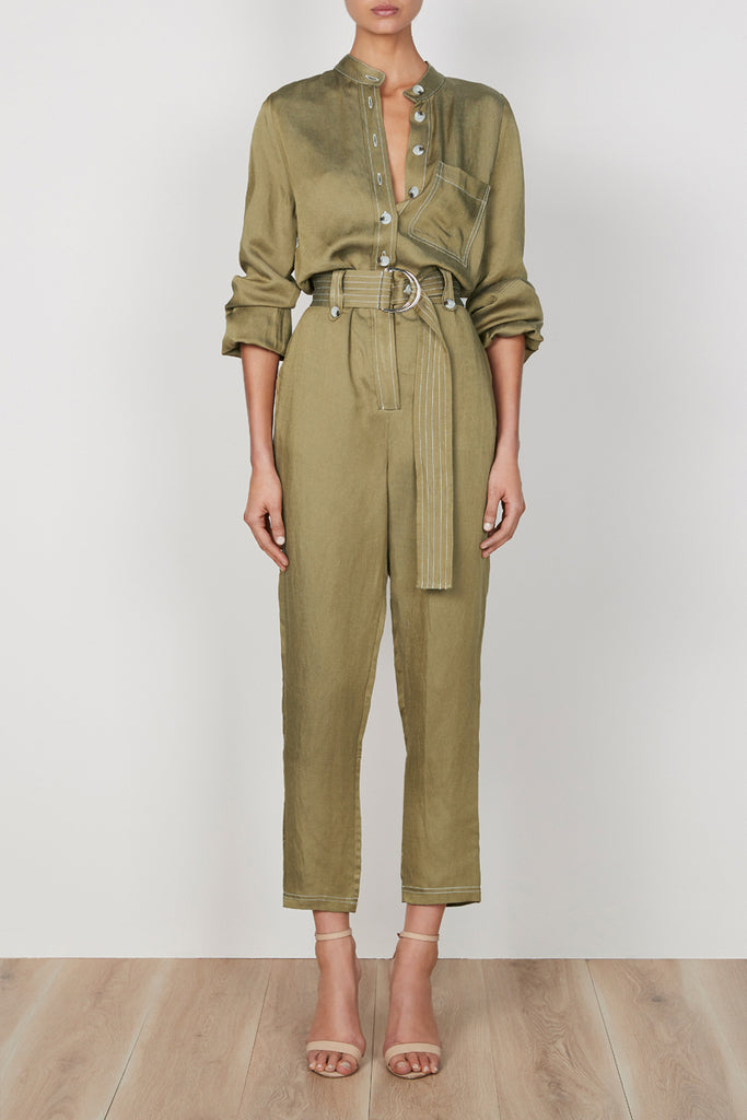 ELLINGTON LINEN RELAXED JUMPSUIT - OLIVE