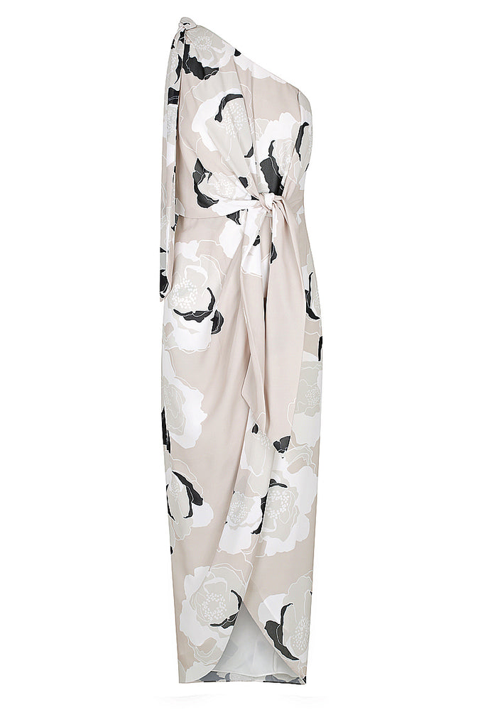 FLORA ONE SHOULDER DRAPED MIDI DRESS