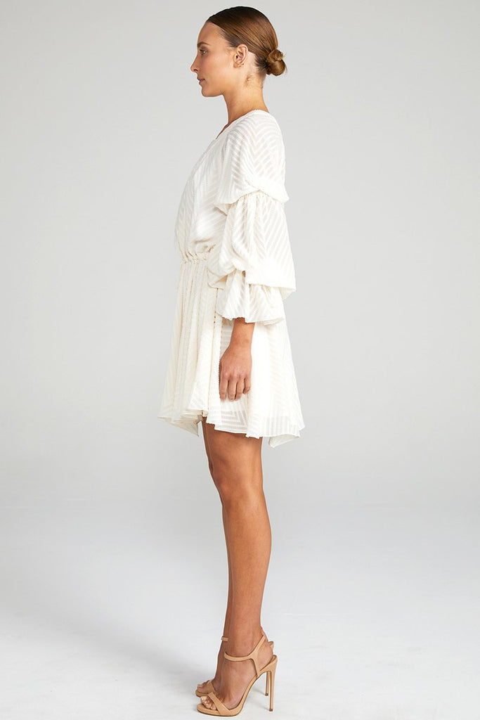 JEAN DOUBLE PUFF SLEEVE DRAWSTRING MINI DRESS - BONE
