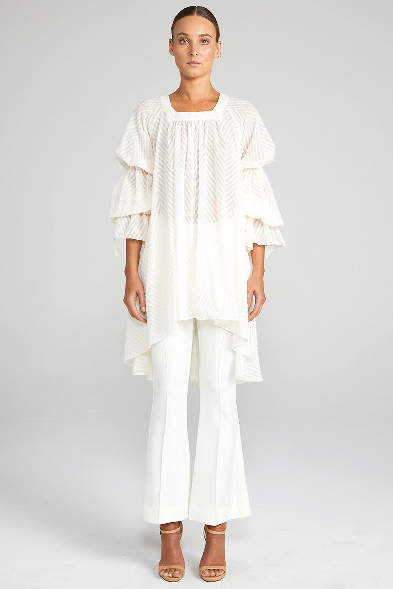 JEAN PUFF SLEEVE TUNIC - BONE