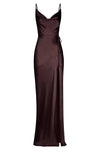 LA LUNE BIAS COWL MAXI DRESS - CHOCOLATE