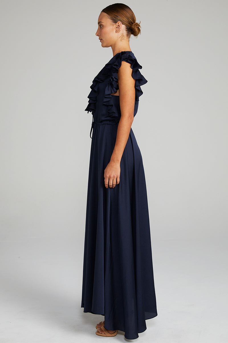 CALYPSO RUFFLE MAXI DRESS - NAVY
