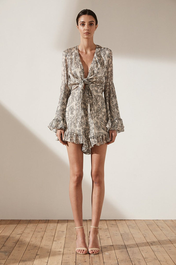 MAREA FLARED SLEEVE TIE FRONT PLAYSUIT - STONE
