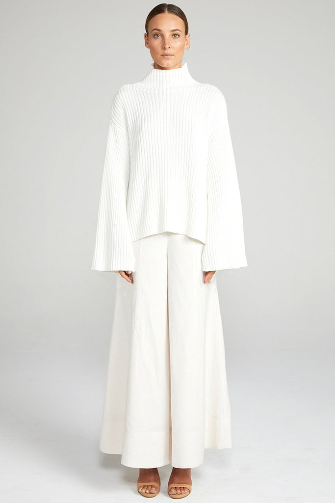 NOUVELLE FUNNEL NECK RIB JUMPER - WHITE