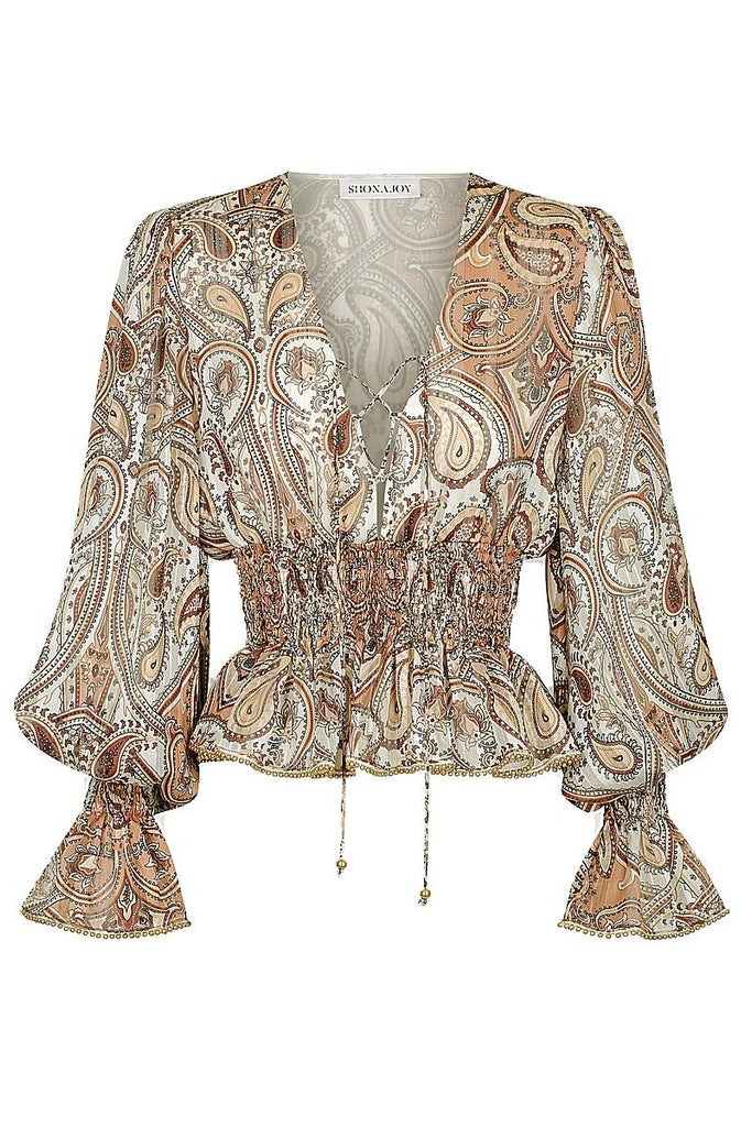 PALLENBERG SHIRRED PEPLUM BLOUSE