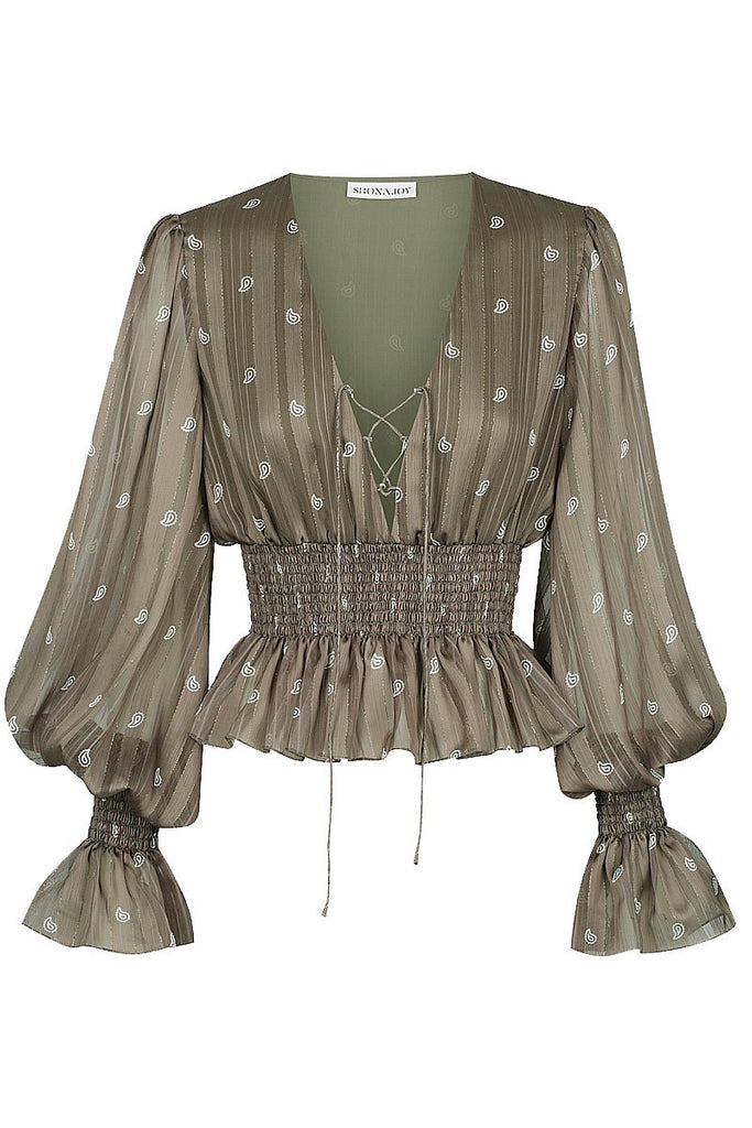 REED SHIRRED PEPLUM BLOUSE
