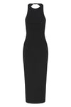 LUCY BACKLESS MIDI DRESS - BLACK