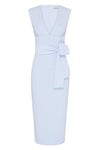 LUCY PLUNGED MIDI DRESS - POWDER BLUE