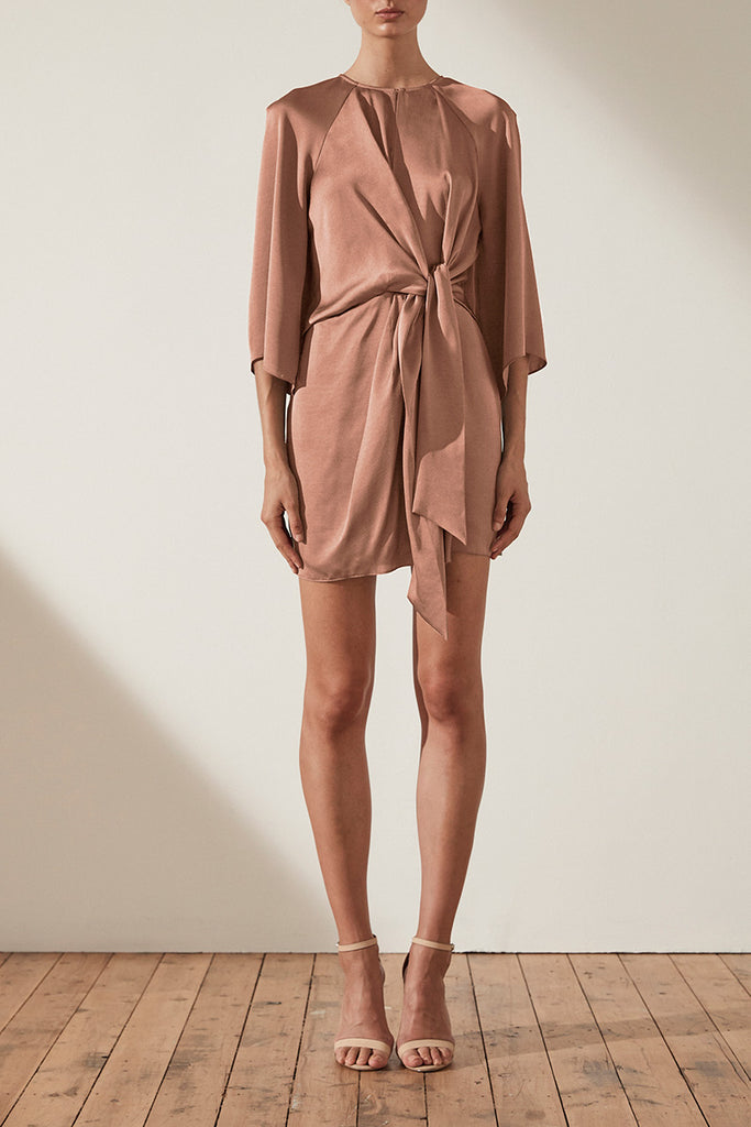 SAWYER TIE FRONT MINI DRESS - COCOA