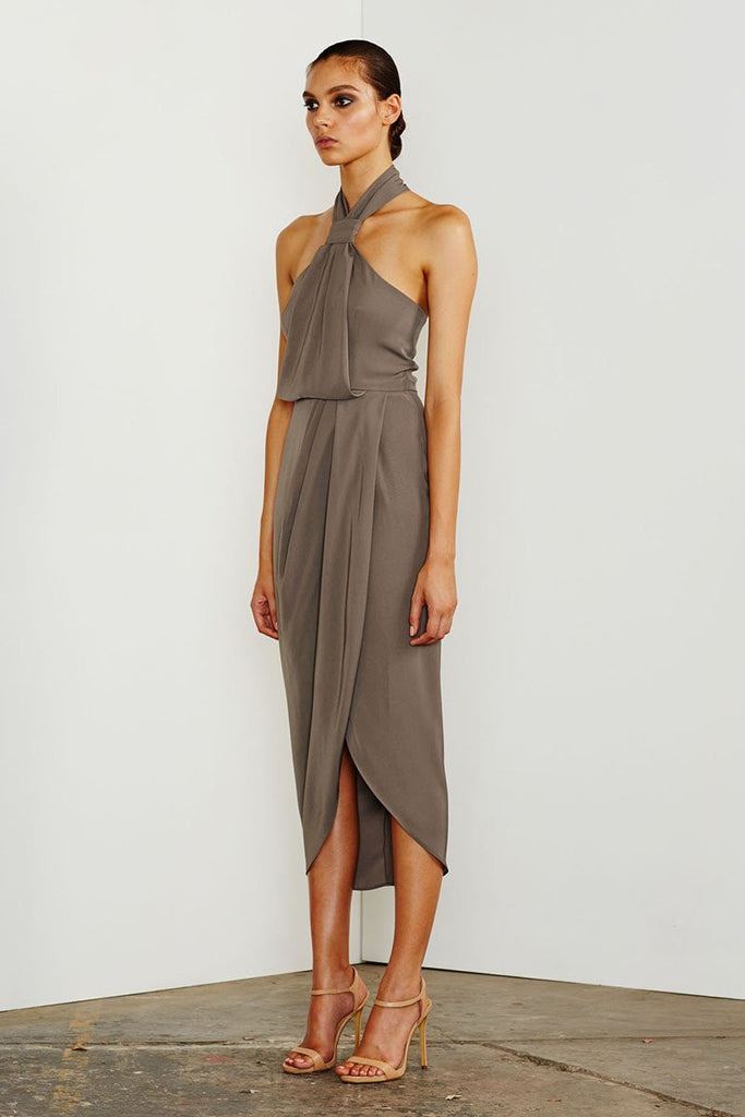 CORE KNOT DRAPED DRESS - OLIVE
