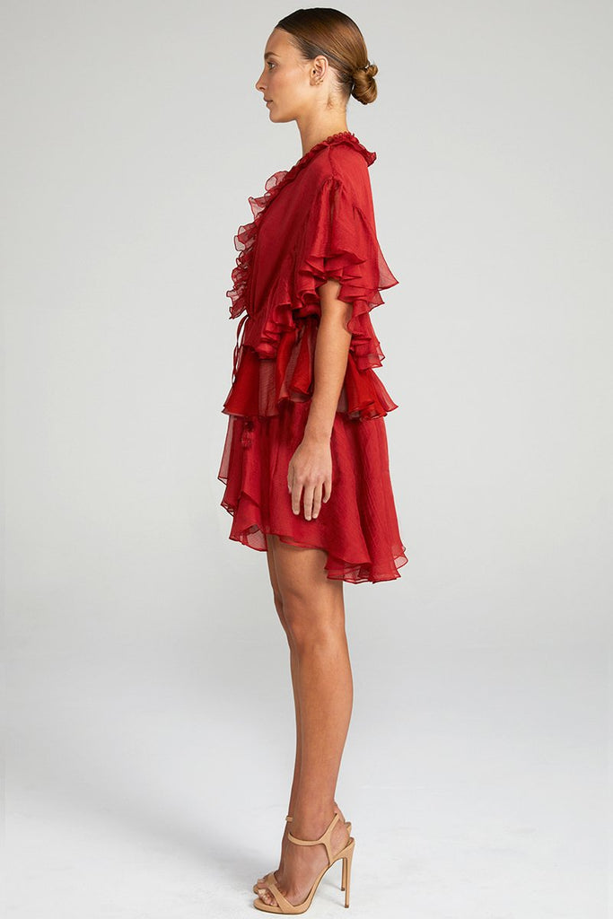 CATHERINE FRILL DRAWSTRING MINI DRESS - BURNT RED