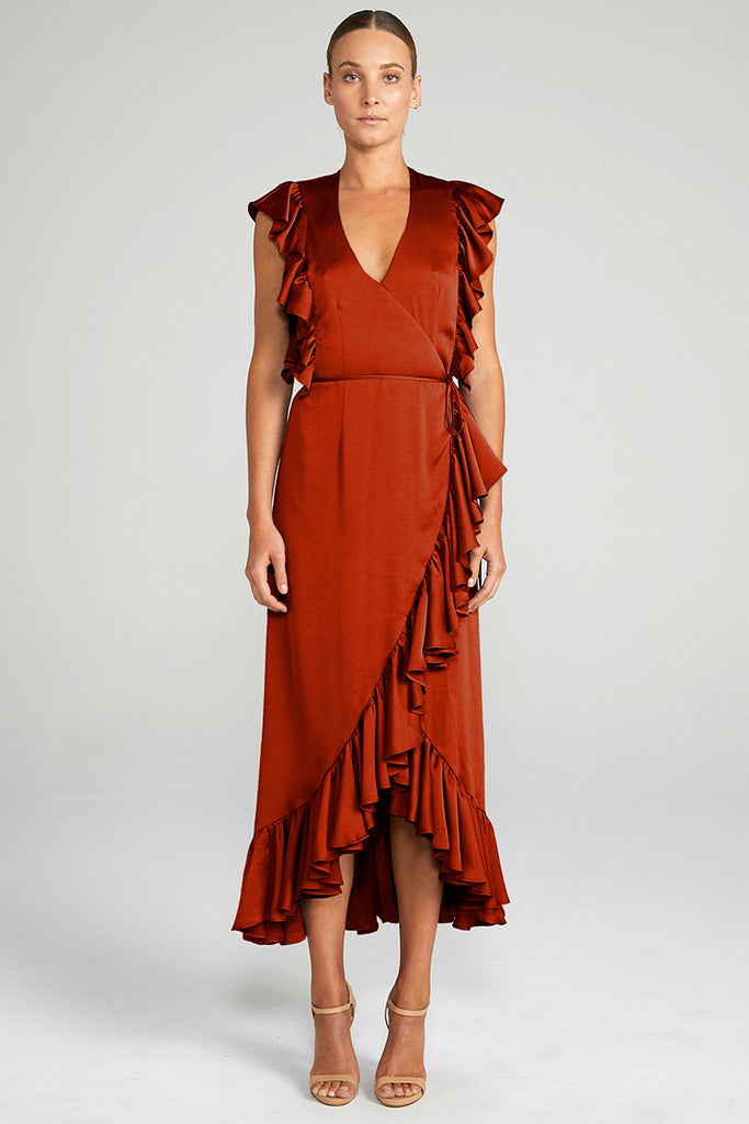 ANNA RUFFLE WRAP DRESS - BURNT RED